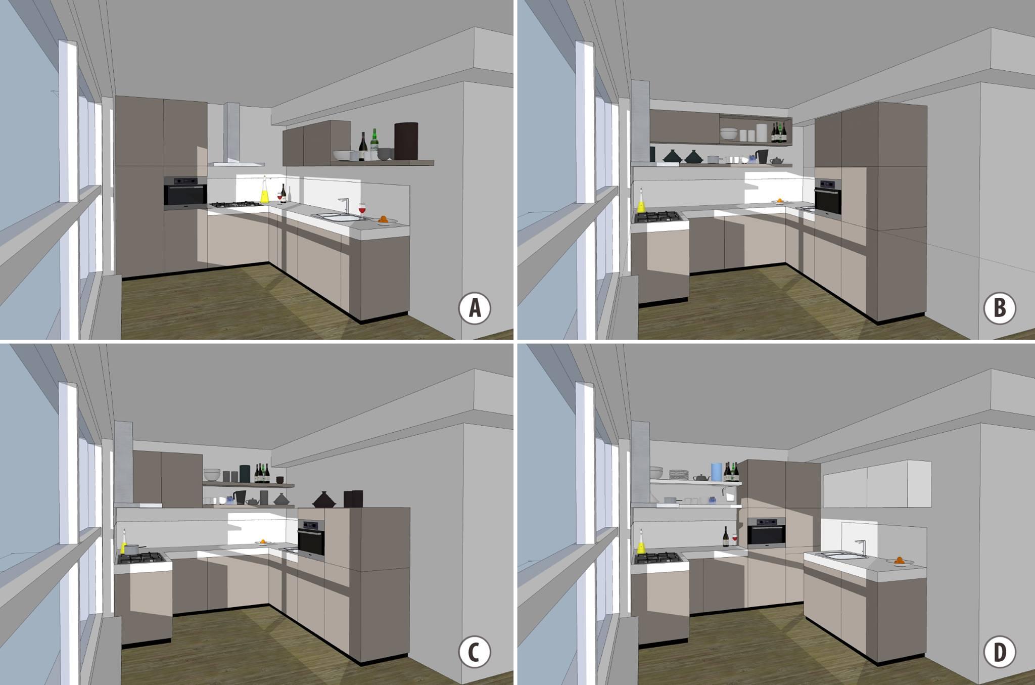 Keuken met open planken met de apparatengroep tegen zijwand en twee - Open keuken m ...